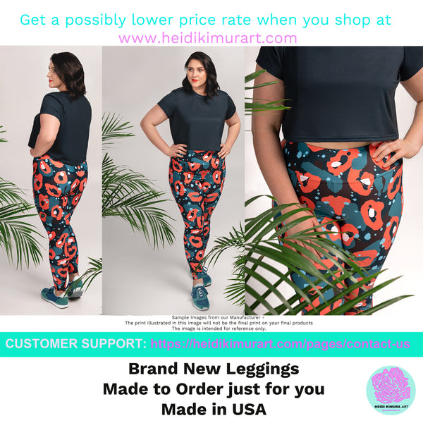 Pink Tartan Scottish Plaid Print Women's Long Yoga Pants Plus Size Leggings-Women's Plus Size Leggings-Heidi Kimura Art LLC