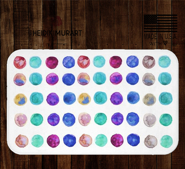 "Watercolor Colorful Polka Dots Bath Mat, Dot Print Best Large Microfiber Rug-Printed in USA-Bath Mat-Heidi Kimura Art LLC Watercolor Polka Dots Bath Mat, Bright Watercolor Colorful Polka Dots Print Pattern Best Designer 34""x21"", 24""x17"" Bath Mat - Printed in USA"
