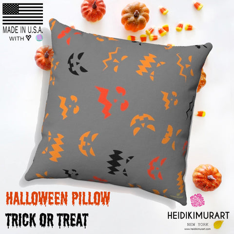 Pumpkin Face Gray Spooky Halloween Premium Spun Polyester Square Pillow-Made in USA-Pillow-Heidi Kimura Art LLC