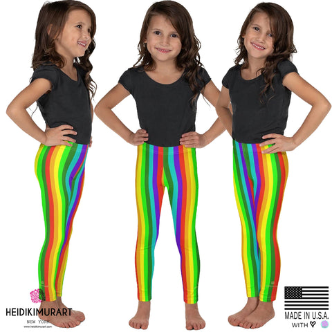 Rainbow Kid's Leggings, Modern Stylish Rainbow Vertical Stripe Print Designer Kid's Girl's Leggings Active Wear 38-40 UPF Fitness Workout Gym Wear Running Tights, Comfy Stretchy Pants (2T-7) Made in USA/EU, Girls' Leggings & Pants, Leggings For Girls, Designer Girls Leggings Tights, Leggings For Girl Child