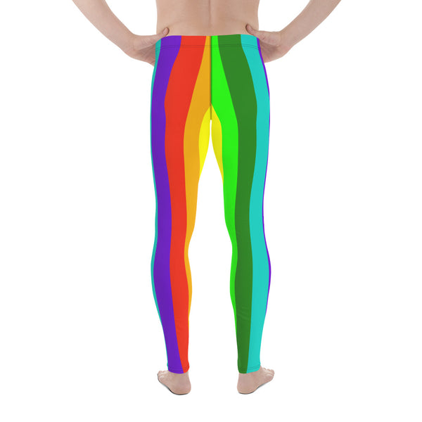 Rainbow Lover Men's Running Leggings & Run Tights Meggings Pants - Made in USA/EU-Men's Leggings-Heidi Kimura Art LLC