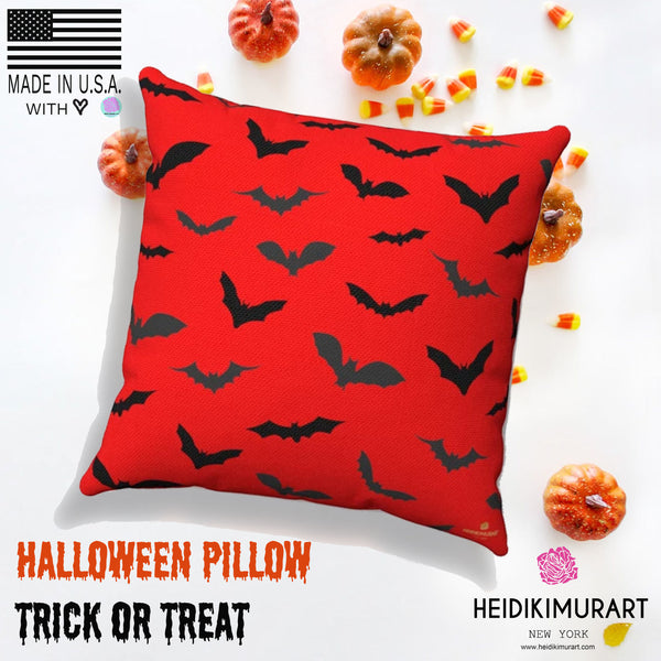 Red Gray Black Bats Print Halloween Pillow Spun Polyester Square Pillow- Made in USA-Pillow-Heidi Kimura Art LLC