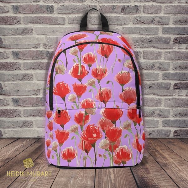 Purple & Red Poppy Flower Floral Print Designer Unisex Fabric Backpack School Bag With Laptop Slot-Backpack-One Size-Heidi Kimura Art LLC