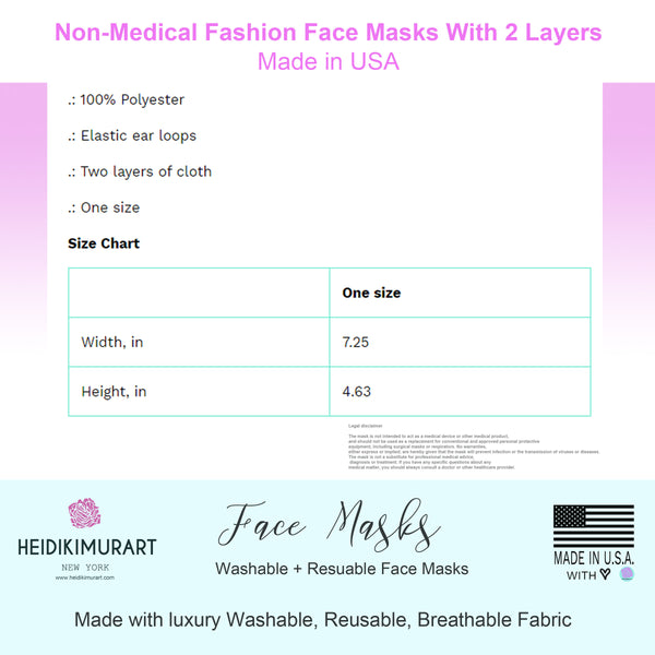 Floral Leaf Print Face Mask, Flower Adult Designer Premium Fabric Face Mask-Made in USA-Face Mask-Printify-MWW on Demand-One size-Heidi Kimura Art LLC