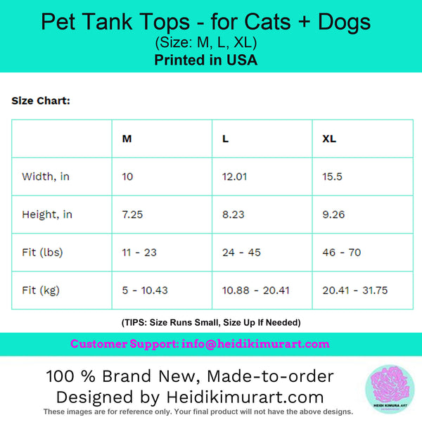 Pet Tank Top For Dog/ Cat, Cotton Premium Designer Fashionable Pet Clothing-Made in USA