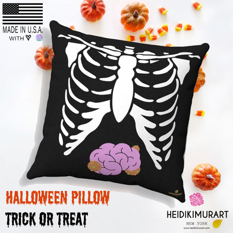 Halloween White Skeleton Torso Premium Spun Polyester Square Pillow- Made in USA-Pillow-Heidi Kimura Art LLC