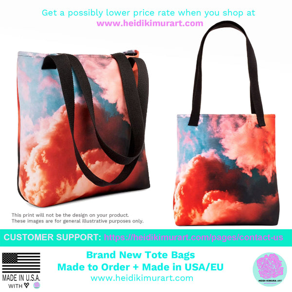 "Pastel Turquoise Blue Roes Floral Print Designer 15"" x 15"" Tote Bag - Made in USA/EU-Tote Bag-Heidi Kimura Art LLC"
