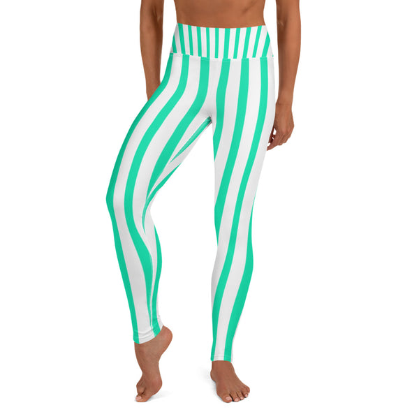 Women's Turquoise & White Stripe Active Wear Fitted Leggings - Made in USA-Leggings-Heidi Kimura Art LLC Blue Striped Women's Leggings, Women's Turquoise & White Stripe Active Wear Fitted Leggings Sports Long Yoga & Barre Pants - Made in USA/EU (US Size: XS-XL)