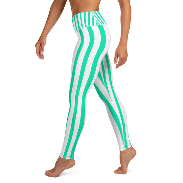 Women's Turquoise & White Stripe Active Wear Fitted Leggings - Made in USA-Leggings-Heidi Kimura Art LLC