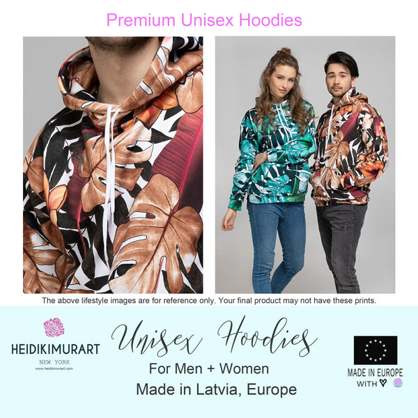 Red Leopard Men's Hoodies, Animal Print Premium Women's Unisex Hoodie-Made in EU-Men's Hoodie-Printful-Heidi Kimura Art LLC