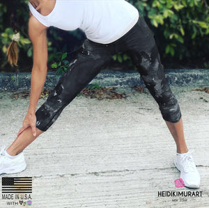 Black Gray Abstract Rose Floral Print Premium Designer Capri Leggings Women's Yoga Pants w/ Inside Pockets - Made in USA/ Made in Europe (US Size: XS-XL)  Capri Leggings & Running Capris, Floral Abstract Leggings, Abstract Leggings, Capri Yoga Leggings, Yoga Capri Pants, Abstract Capris, Capri Leggings, Floral Yoga Pants, Artistic Yoga Pants, Gym Capris, Marble Yoga Pants, Artist Leggings, Abstract Floral Leggings, Women's Clothing