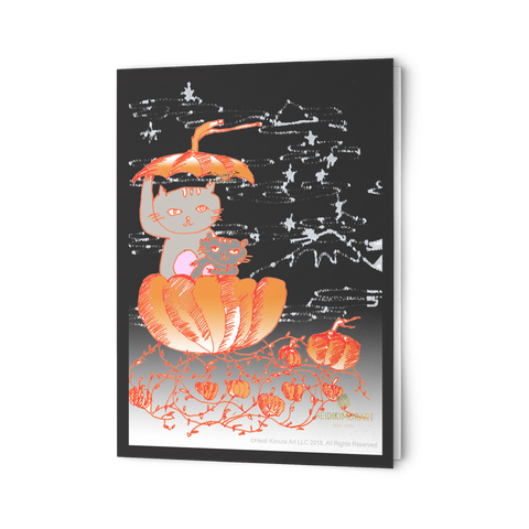 Pumpkin Cats of the Pacific Northwest Folded Greeting Cards, Sets of 10 pcs, 30 pcs, 50 pcs-Cards-10pc-Heidi Kimura Art LLC