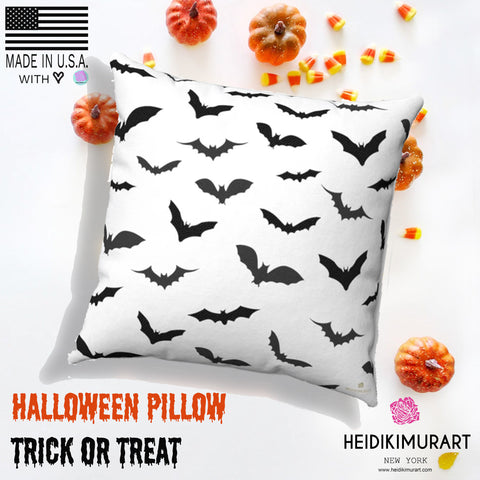 White Gray Black Bats Print Spooky Halloween Pillow Spun Polyester Square Pillow- Made in USA-Pillow-Heidi Kimura Art LLC
