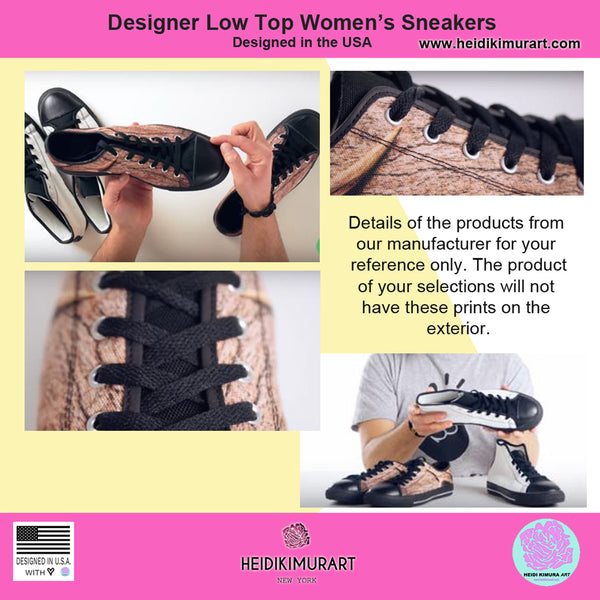 Tiger Stripe Women's Low Tops, Brown Animal Print Low Top Women's Sneakers Shoes-Women's Low Top Sneakers-Heidi Kimura Art LLC