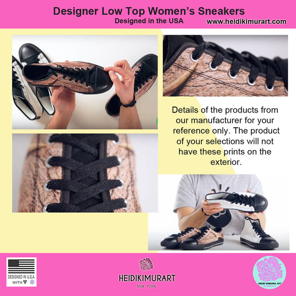Cow Print Brown White Black Durable & Lightweight Women's Low Top Sneakers-Women's Low Top Sneakers-Heidi Kimura Art LLC