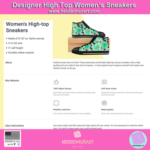 Blue Rose Floral Print Women's High Top Designer Sneakers Tennis Shoes (US Size: 6-12)-Women's High Top Sneakers-Heidi Kimura Art LLC