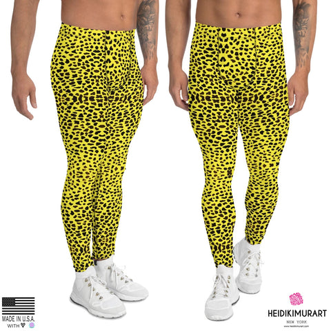 Yellow Leopard Print Men's Leggings, Cheetah Designer Animal Print Men's Leggings Tights Pants - Made in USA/EU (US Size: XS-3XL) Sexy Meggings Men's Workout Gym Tights Leggings, Party Leopard Men's Leggings, Leopard Print, Mens Animal Print Leggings, Animal Print Meggings