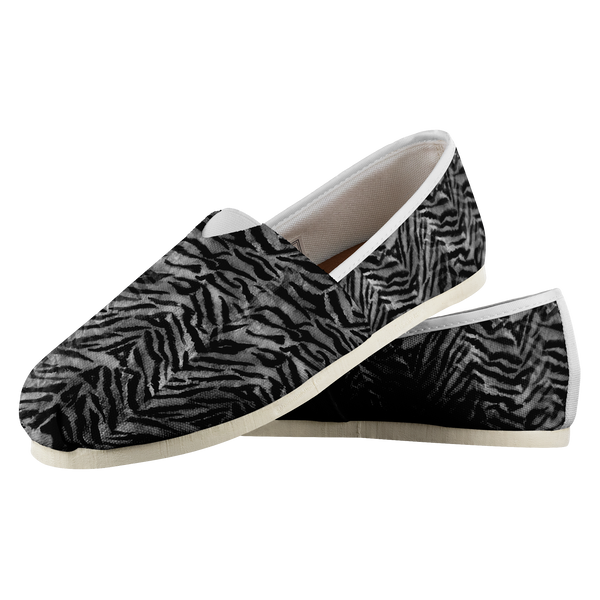 Hiro Black Gray Charcoal Tiger Striped Animal Print Women's Slip On Sneakers,Tiger Stripe Shoes,Tiger Print Shoes,Canvas Tiger Striped Shoes, Women's Comfy Flats Casual Shoes, Slip Ons Hiro Black Gray Charcoal Tiger Striped Animal Print Textured Women's Comfy Flats Casual Shoes, Slip-On Sneakers (US Size: 4.5-14)Maki Stunning Gray Tiger Stripe Women's Comfy Flats Casual Shoes, Slip-On Sneakers