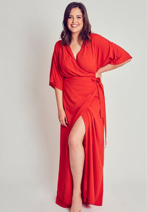 Plus size summer kimono wrap dress