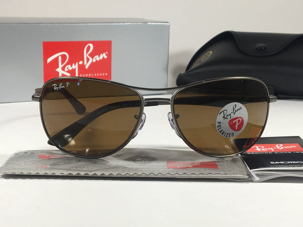 644b76dd464 Ray-Ban Polarized Aviator Pilot Sunglasses Gray Black Brown Frame Brown  Lens Rb3519 029