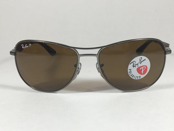 59b3e26c97 ... Ray-Ban Polarized Aviator Pilot Sunglasses Gray Black Brown Frame Brown  Lens Rb3519 029  ...