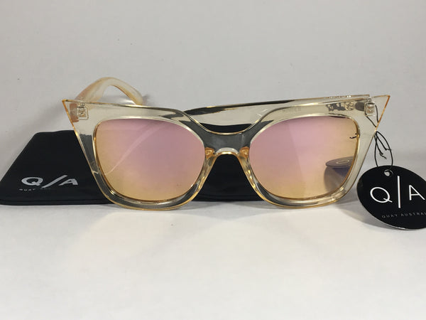 ec766d068b Quay Harper Sunglasses Cat Eye Clear Gold Plastic Gold Pink Mirror Lens  QW000157 GOLD GOLD