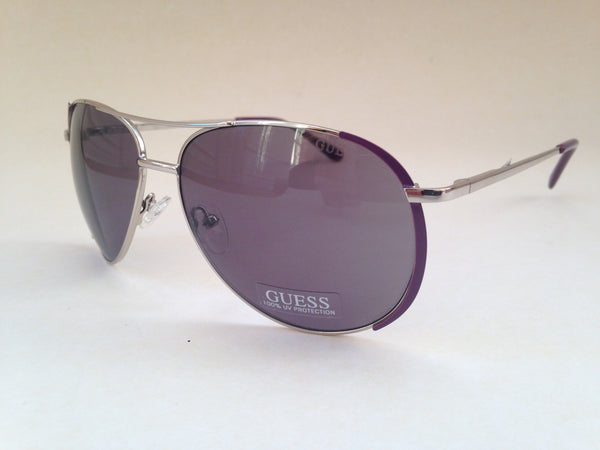 f99a33b47a Guess Women s Aviator Sunglasses GF0267 10A Silver Metal Frame Purple Gray  Lens New