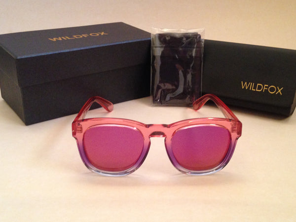 490a1c66ce6 Wildfox Classic Fox Sunglasses Square Nightfall Pink Clear Frame Pink Purple  Mirror Flash Lens - Sunglasses