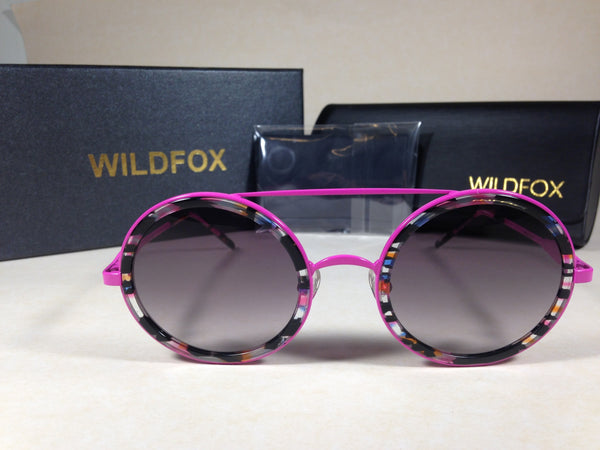 a010e1236b0 Wildfox Winona Fireworks Sunglasses Round Pink Black Frame Gray Gradient  Lens