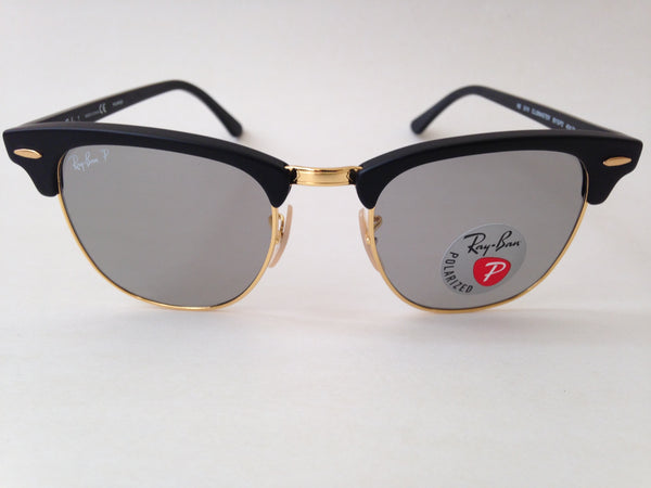 e9695087bf4 ... Ray-Ban Polarized Classic Clubmaster Sunglasses Rb3016 901S p2 Matte  Black Frame Gray Clear ...