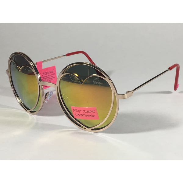 fb0f2258e Betsey Johnson BJ465139 Round Heart Sunglasses Yellow Green Coral Flash Gold  Red 55