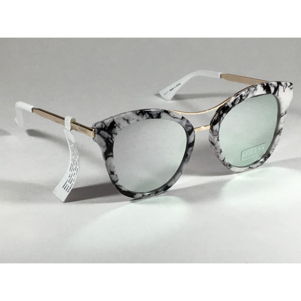 9eff57d517 ... Guess Round Cat Eye Sunglasses Gf0304 56C Gold Metal Black White Marble  Silver Mirror Lens ...