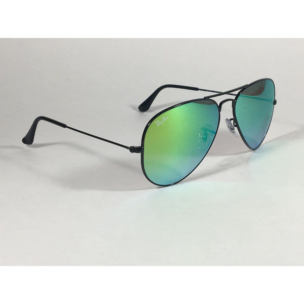 ray ban aviator blue mirror lens black frame