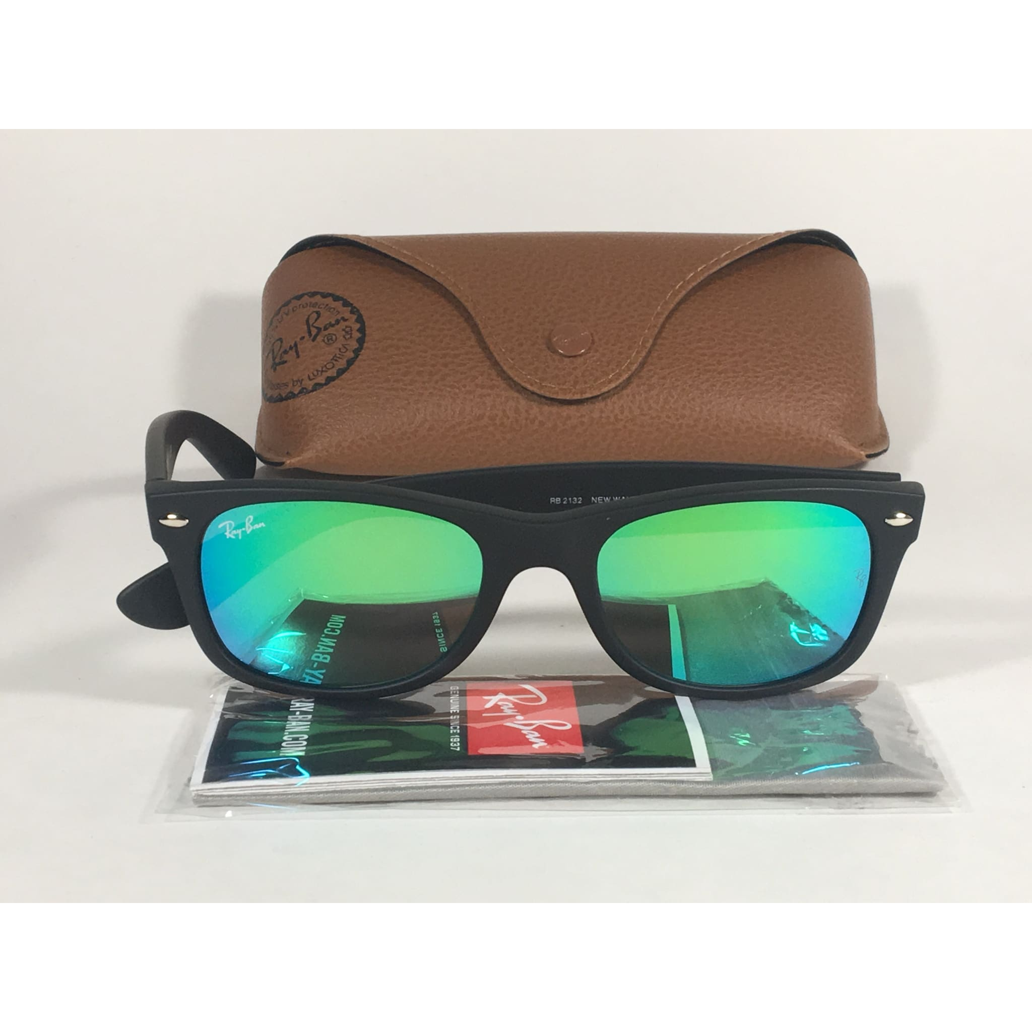 4cd16748ff Ray-Ban New Wayfarer Sunglasses RB2132 622 19 Matte Black Green Aqua Flash  Lens
