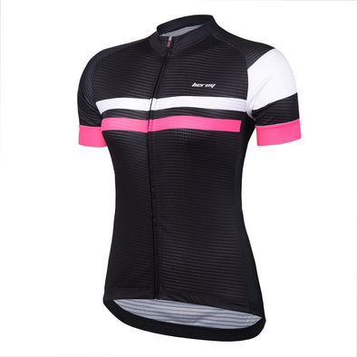 Womens Cycling Jerseys with Short Sleeves, Girls Bike Short Sleeves with Three Pockets