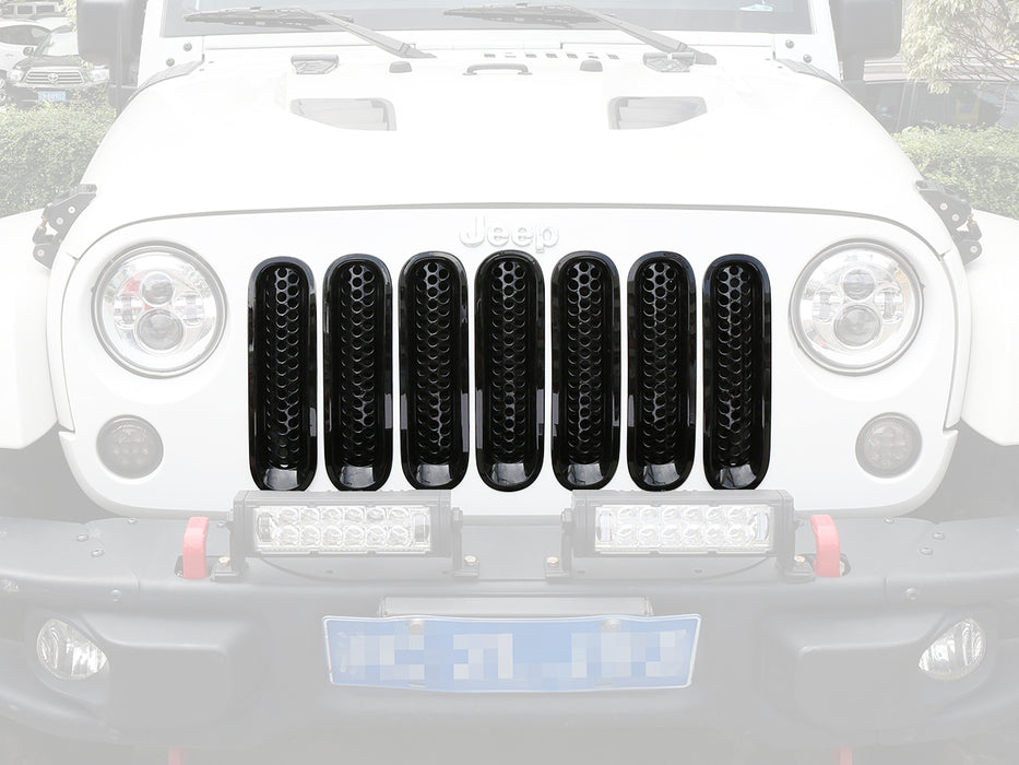Hooke Road Opar Gloss Black Clip-in Front Mesh Grille Insert for 2007-2015 Jeep u-Box 2