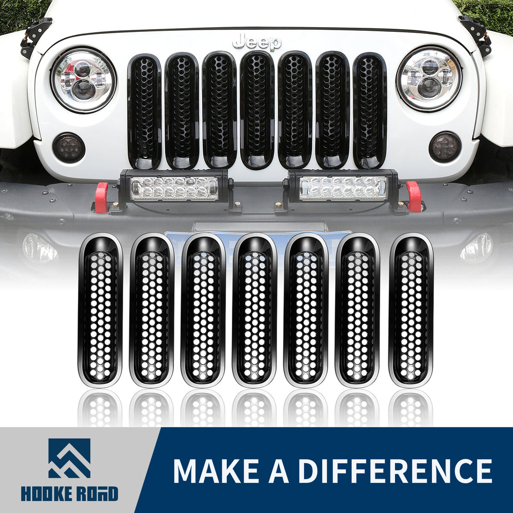 Hooke Road Opar Gloss Black Clip-in Front Mesh Grille Insert for 2007-2015 Jeep u-Box 1