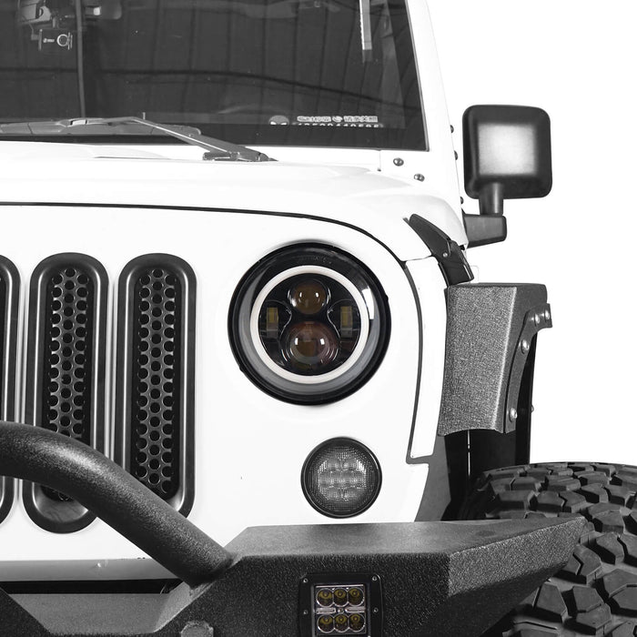 Hooke Road Jeep TJ JK 7 inch LED Headlights with White Halo Ring Angel Eyes for Jeep Wrangler TJ JK 1997-2018 mmrz010 Accessories 4
