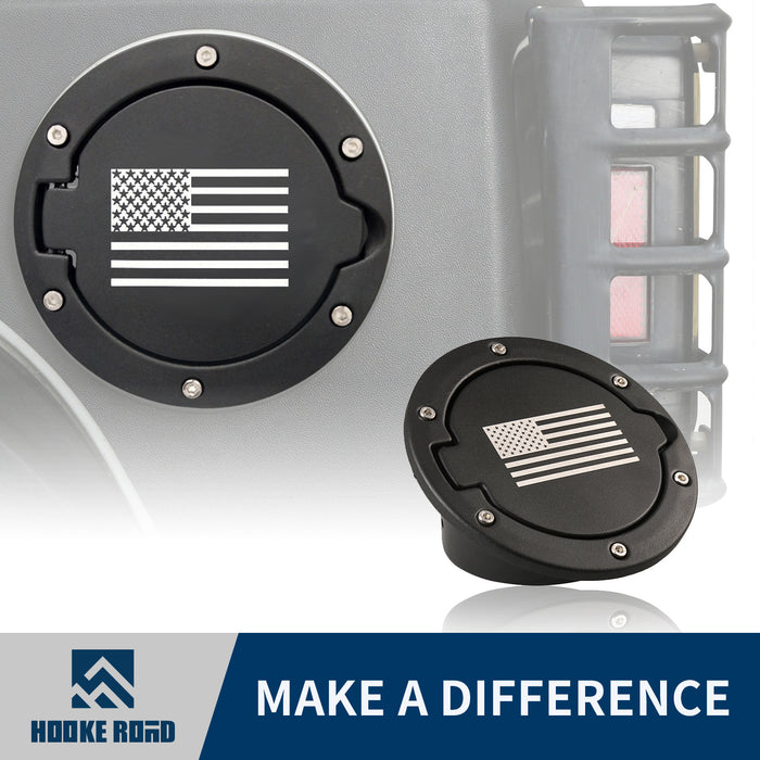 Hooke Road Opar Fuel Filler Door Cover Gas Cap for 2007-2018 Jeep Wrangler u-Box 1