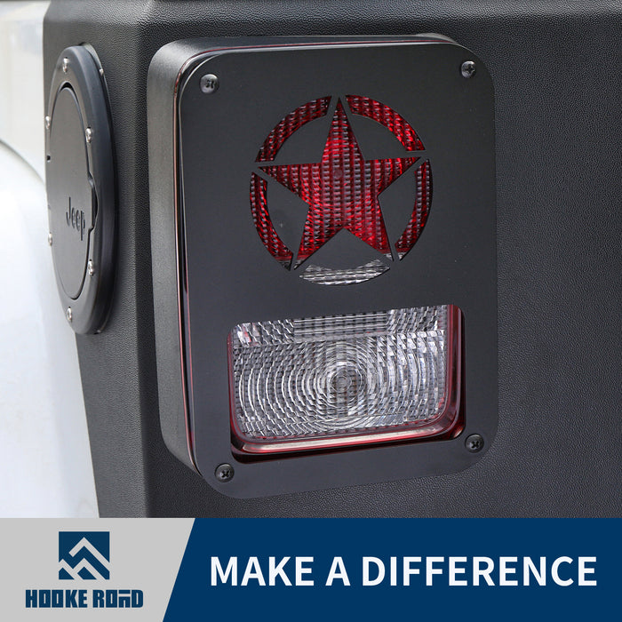 Hooke Road Opar Five Star Taillight Light Guard Cover for 2007-2018 Jeep JK u-Box 1