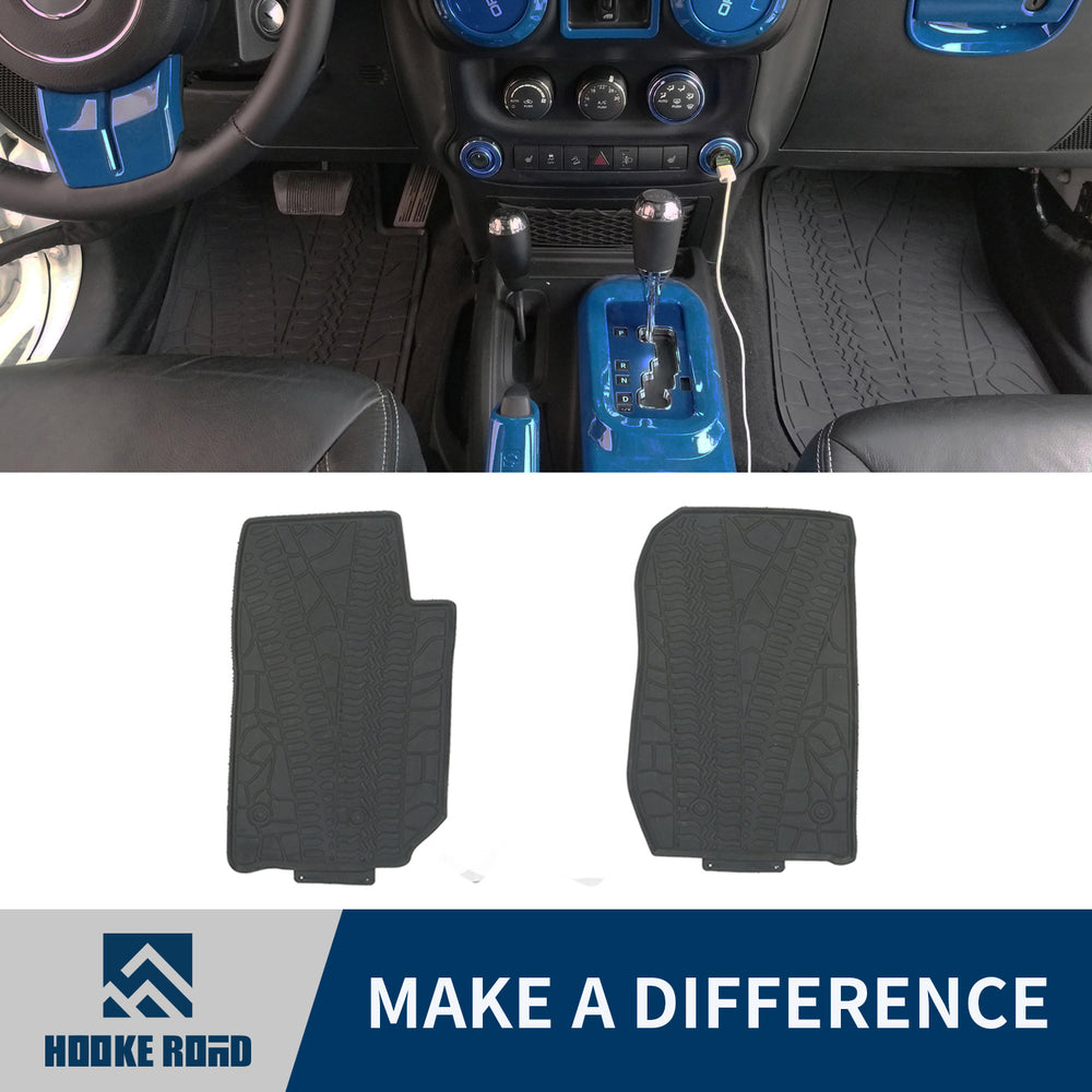 Hooke Road Opar All Weather Front & Rear Floor Mats for 2011-2018 Jeep u-Box 1