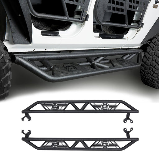 Hooke Road® BLADE Side Steps Rocker Guard Nerf Bars(07-18 Jeep Wrangler JK JKU 4 Door)