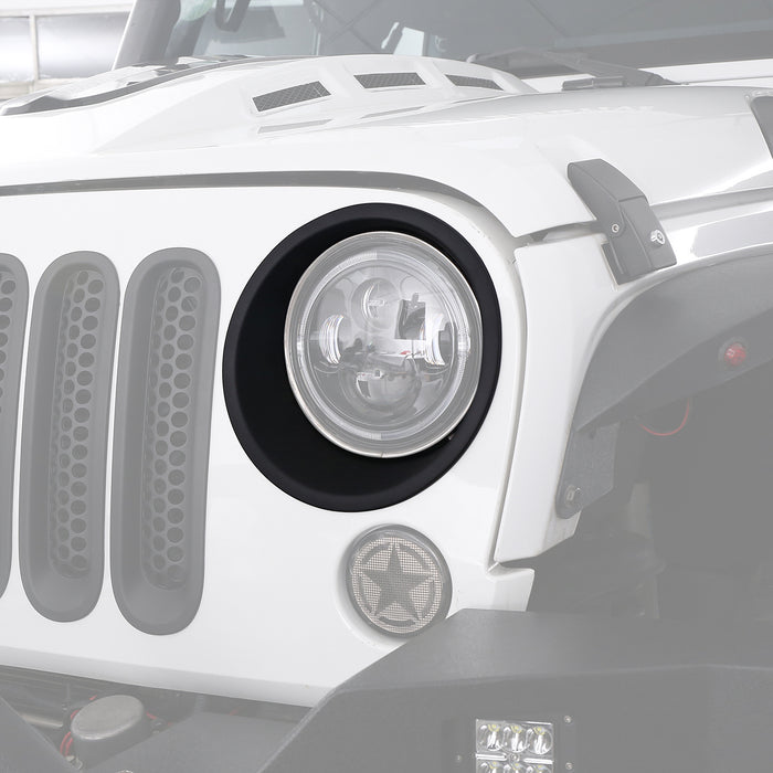 Hooke Road Opar Headlight Bezels Headlight Cover Trim for 2007-2018 JK u-Box 2