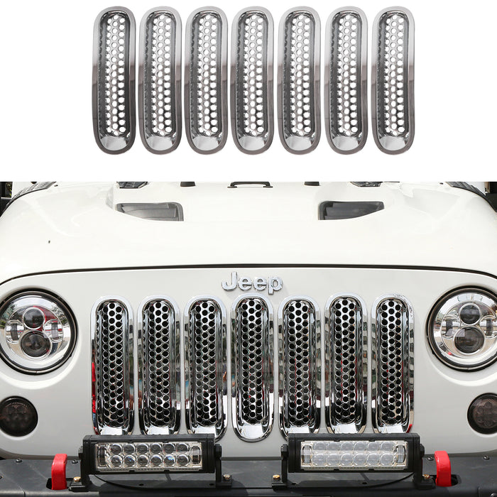 Pack of 7 Hooke Road Chrome Clip-in Front Grille Mesh Inserts for 2007-2015 Jeep Wrangler JK /& Unlimited