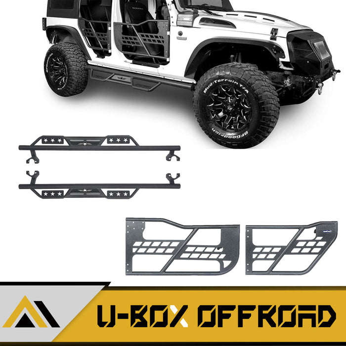 4 Door Side Steps & Tubular Half Doors Combo(07-18 Jeep Wrangler JK)