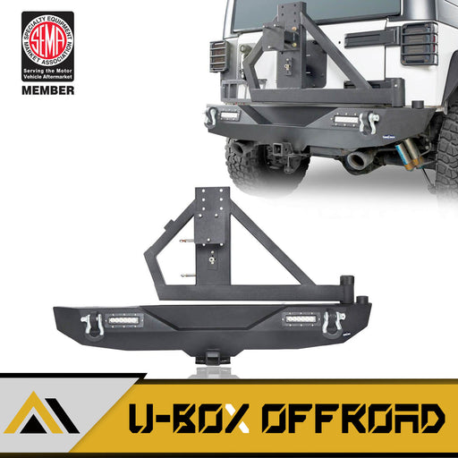 Different Trail Rear Bumper w/Tire Carrier & LED Floodlights(07-18 Jeep Wrangler JK)