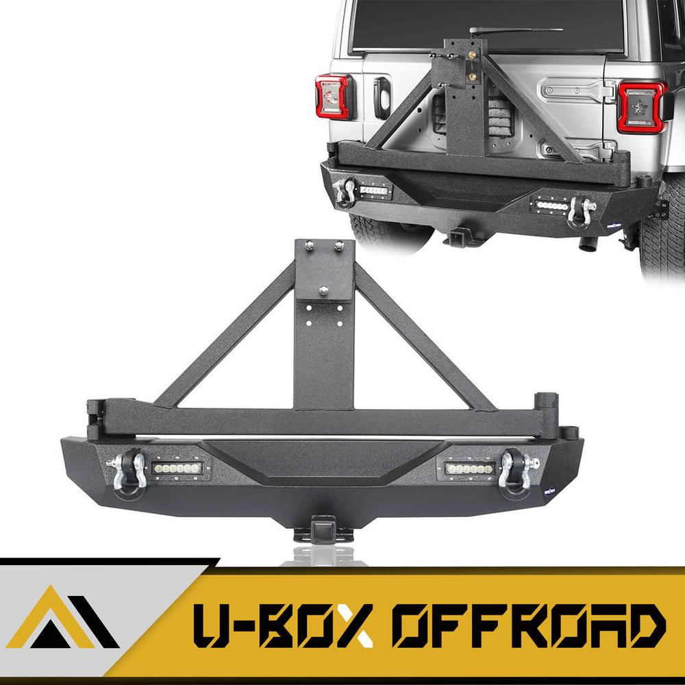 JL Rear Bumper w/Tire Carrier & LED Floodlights(18-21 Jeep Wrangler JL)