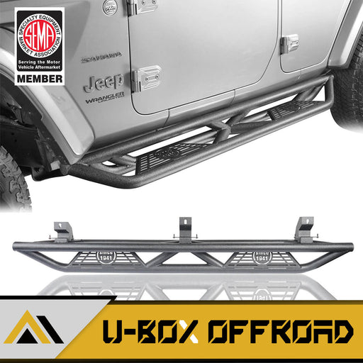 "Tube Side Steps Running Boards w/""SINCE 1941"" Logo(18-21 Jeep Wrangler JL 4 Door)"