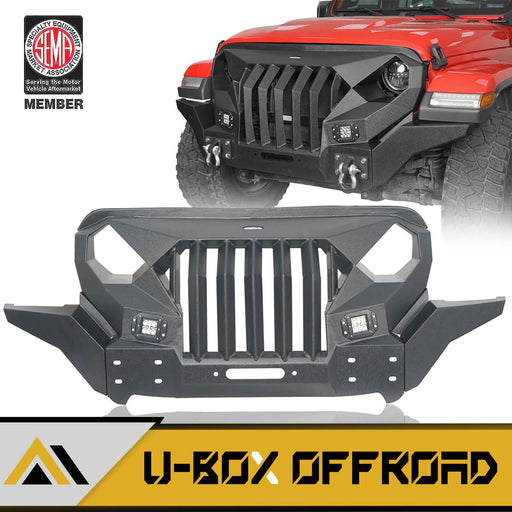 Mad Max Front Bumper Grill w/Wings & LED Lights(18-21 Jeep Wrangler JL & 20-21 Jeep Gladiator JT)