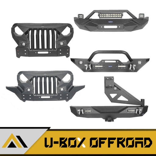 Front Bumper & Rear Bumper w/Swing Out Tire Carrier(18-21 Jeep Wrangler JL)